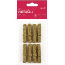 Набор мини-прищепок деревянных Рождество, золотой глиттер (PM174925)