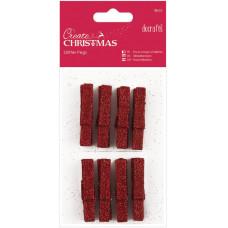 Набор мини-прищепок деревянных Рождество, красный глиттер (PM174926)