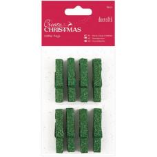 Набор мини-прищепок деревянных Рождество, зеленый глиттер (PM174927)