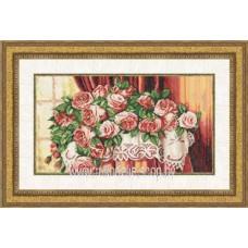 Набор для вышивания крестиком Золотое руно Розы на столе (ЛЦ-040)
