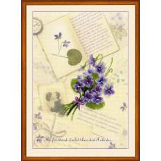Набор для вышивания крестом Риолис Письма о любви. Фиалки (РТ-0039)
