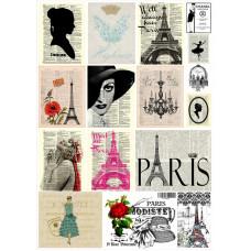 Декупажная карта Париж. Винтажная мода (ЕВ-Д084)