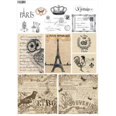 Декупажная карта Париж. Черно-белое и сепия (ЕВ-Д117)