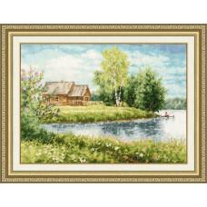 Набор для вышивания крестиком Золотое руно Домик у озера (МД-016)