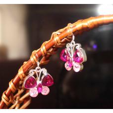 Серьги Аквамариновые бабочки