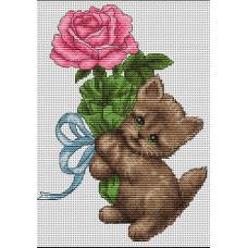 Котенок с розой (B194)