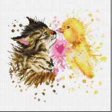 Кот с утенком (B2301)