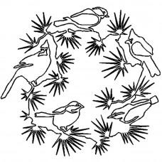 Трафарет для простёгивания Венок с птичками (FC 16)
