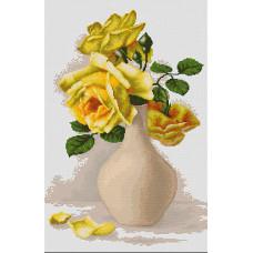 Желтые розы в вазе (B508)