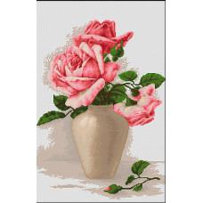 Розовые розы в вазе (B507)