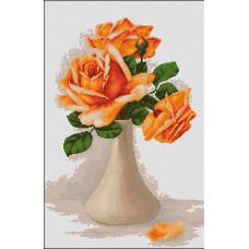 Оранжевые розы в вазе (B505 )