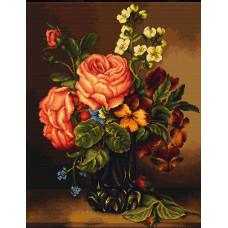 Набор для вышивания крестом Luca-S Ваза с розами и цветами (B491)