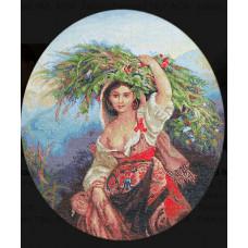 Набор для вышивания крестом Luca-S Итальянка с цветами (B466)