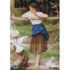 Девушка, дразнящая голубей (B516)