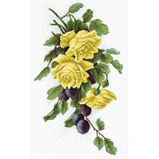 Желтые розы со сливами (B2230)