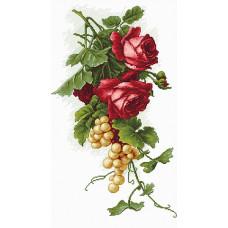 Набор для вышивания крестом Luca-S Красные розы с виноградом (B2229)