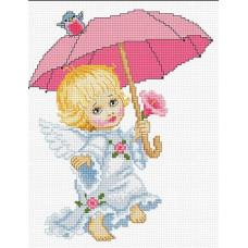 Ангелочек с зонтиком (B192)