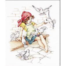 Девочка с голубями (B1051)