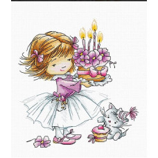 Девочка с котенком и тортом (B1054)