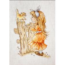 Набор для вышивания крестом Luca-S С котенком (B1106)