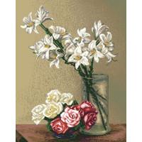 Белые лилии и розы (7.51)