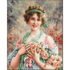 Девушка с розами (В553)