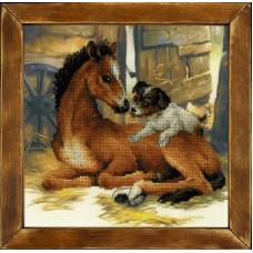Набор для вышивания крестом Риолис Жеребенок и щенок (РТ-0052)