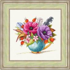 Набор для вышивания крестиком Сделано с любовью Букет с перьями (ЦВ-071)