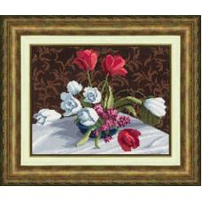 Набор для вышивания крестиком Золотое руно Белые тюльпаны (М-005)