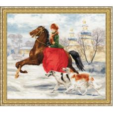 Набор для вышивания крестиком Золотое руно Зимняя прогулка (ЧМ-052)