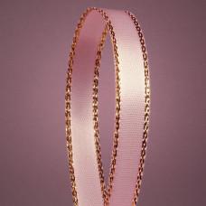Атласная лента с люрексовой нитью, пастельно-розовая, 6мм