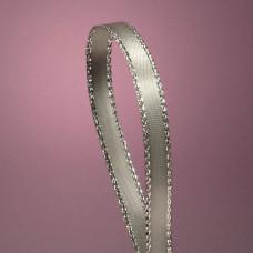 Атласная лента с люрексовой нитью, белая и серебро, 6мм
