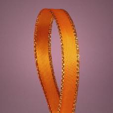 Атласная лента с люрексовой нитью, оранжевая/золото, 6мм