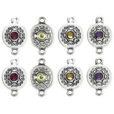 Коннекторы с камешками, 8 шт., серебр. (34687-039)