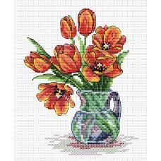 Набор для вышивания крестом М.П.Cтудия Весенние тюльпаны (М-089)