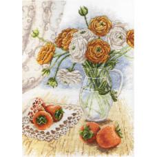Набор для вышивания крестом М.П.Cтудия Букет садовых лютиков (НВ-597)