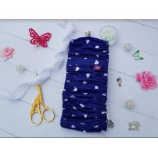 Чехол на пяльца Сердечки на синем, 14-17 см