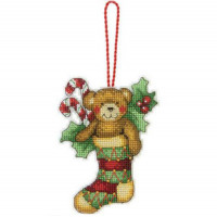 Набор для вышивания крестом Dimensions Игрушка на елку Рождественский медведь (70-08894)