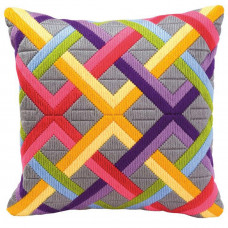 Подушка Цветные диагонали на сером (PN-0010865)