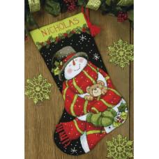 Набор для вышивания Dimensions Рождественский сапожок Снеговик и мишка (71-09151)