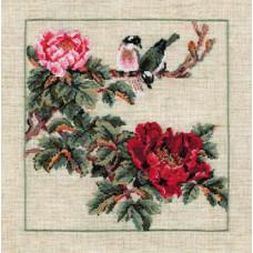 Набор для вышивания крестом Риолис Птица на ветке с красными цветами (484)