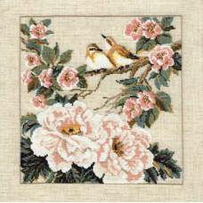 Птицы на ветке с розовыми цветами (486)