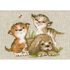 Набор для вышивания крестом Риолис Щенок с котятами (673)
