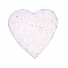 Сердце из фетра, большое, белое с блёстками