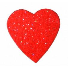 Сердце из фетра, большое, красное с блёстками