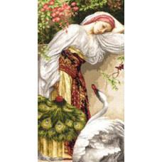 Набор для вышивания крестиком Золотое руно Девушка с лебедем (ЧМ-008)
