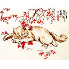 Набор для вышивания крестиком Золотое руно Спящий кот (К-005)