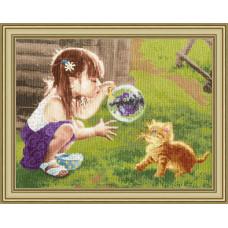 Набор для вышивания крестиком Золотое руно Забавная игра (ЧМ-069)