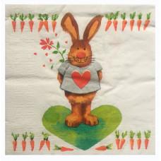 Салфетка Влюбленный заяц с морковками (1480)