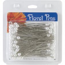 """Булавки цветочные, белые Floral Pins 3"""" 6mm Round (3807-38075)"""